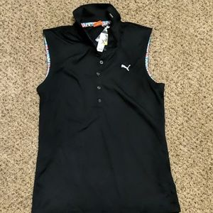 Women's puma golf solid sleeveless poli